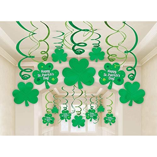 Erosion Packung mit 30 St. Patrick's Day Dekorationen - Shamrock Clover Saint Irish Party hängen hängen