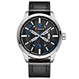 Men's Watches Luxury Fashion Dress Chronograph Waterproof Military Quartz Wristwatches for Men Leather Calendar Date Watch(Black)