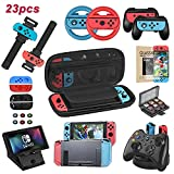Welwel Accessories Kit for Nintendo Switch, Bundle with Carrying Case, Clear Protective Case, Upgraded Wrist Band, Bracket, Charging Dock, 24 Game Case, Wheels, Grips, Screen Protector, Caps & More