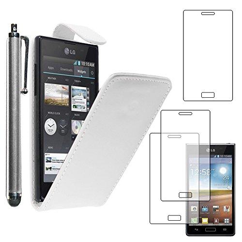 ebestStar - kompatibel mit LG Optimus L7 Hülle P700 Etui mit Klappe, PU Kunstleder Handyhülle Schutzhülle Hülle Cover + Stift +3 Schutzfolies, Weiss [Phone: 125.5 x 67 x 8.7mm, 4.3'']