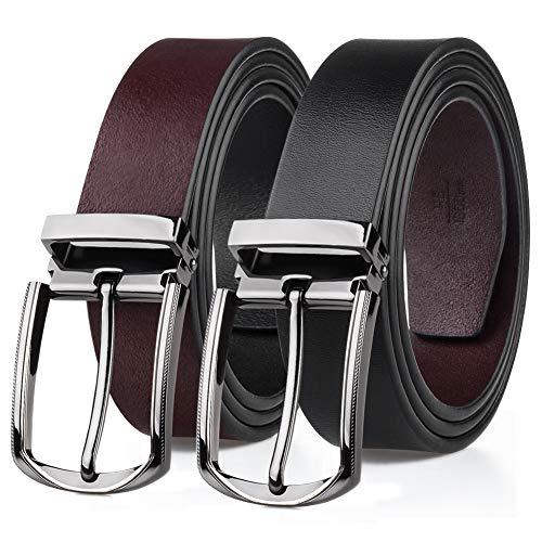 Preisvergleich Produktbild MEIRUIER Gürtel Herren Ledergürtel aus Büffelleder für Männer Jeans Anzug Echtleder Schwarz 35mm Anzugsgürtel,  Hüftgürtel (Schwarz / braun 2,  120cm)