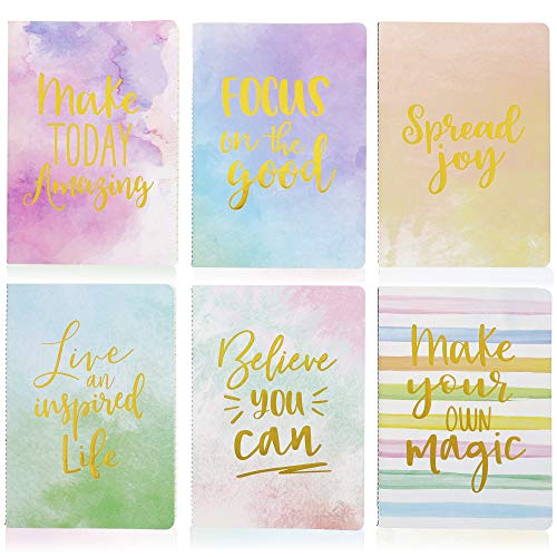 Soft Cover Journal, Motivational Notebooks (A5 Size, 6-Pack)