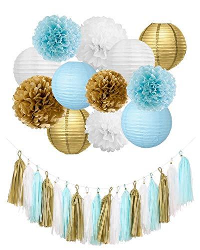 Baby Blue Gold Party Decoration, Tassel Garland Paper Lanterns, Baby Blue (WGW) Baby Shower Hanging Decorations Set, Blue Gold Poms