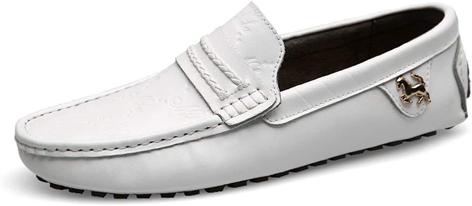 ZHRUI Boy's Men's Classic Digit Print Casual Daily Loafers (color   White, Size   6 UK)
