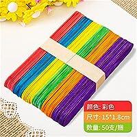 50ピース/色の木の台紙のスティック自然の木のアイスクリームスティック子供のための教育玩具手作りDiyの工芸品の供給 (Color : 15x1.8 colorful)