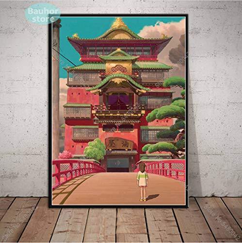 Spirited Away Poster Wall Art Studio Ghibli Hayao Miyazaki Japon Anime Toile Peinture Affiches Et Impressions pour Chambre Décor À La Maison 50 × 70Cm sans Cadre