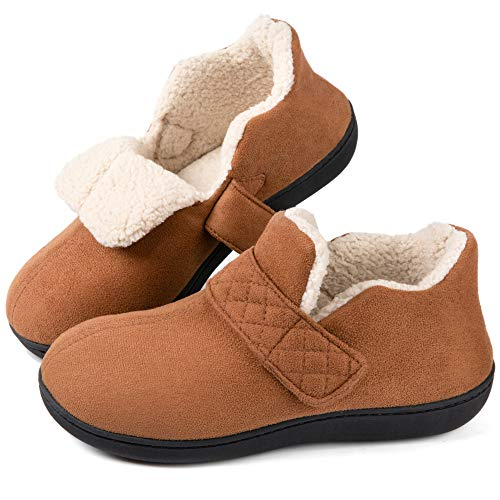 ZIZOR Women's Cozy Memory Foam Slippers with Adjustable Closure Strap, Fleece Lining Closed Back House Shoes with Anti-Slip Indoor Outdoor Rubber Sole(Tan, Size 9)
