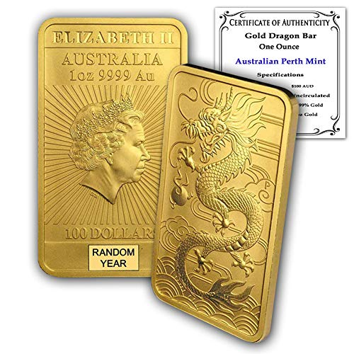 2018 - Present (Random Year) 1 oz Gold Australia Dragon Bar Brilliant Uncirculated with Certificate of Authenticity by CoinFolio $100 24K