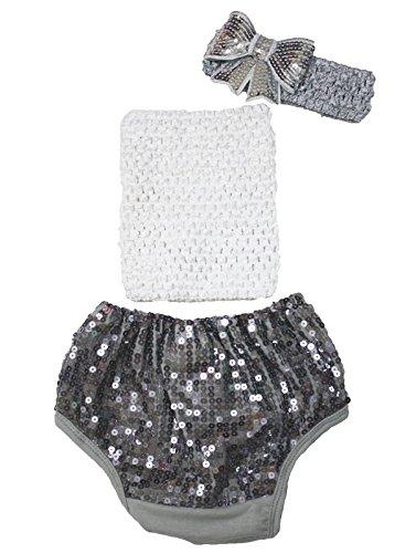 Gris argent Tube Top à paillettes Coton bloomer Pantalon Ensemble Vêtements bébé Lot de 3–12 m - Gris -