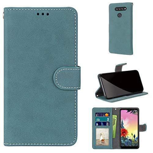 LMFULM® Hülle für LG K50S / X540 (6,5 Zoll) PU Leder Magnet Brieftasche Lederhülle Handyhülle Stent-Funktion Ledertasche Flip Cover Retro Gefrostet Blau