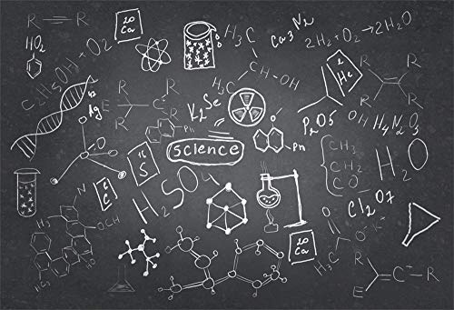 AOFOTO 8x6ft Chemistry Course Classroom Photography Backdrop Handwritten Science Drawing Chalkboard Blackboard Background for School Term Begins Graduation Ceremony Photo Studio Drapes