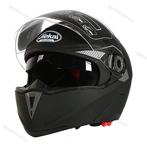 2017 新品 バイクヘルメット 写真用 人気  ジェットヘルメット フルフェイス JIEKAI バイク ヘルメット JK105 Bike Helmet システム フリップアップ オフロード ジェット シールド付き男女兼用 艶消しブラック(透明シールド) L