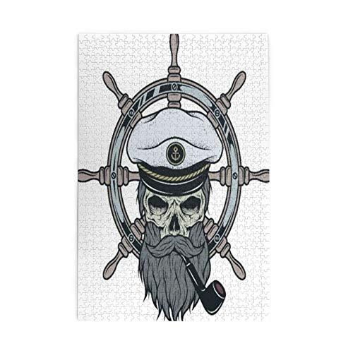 Capitán Cráneo En Un Sombrero Con Una Barba Y Un Tubo Sobre Un Fondo De Mar Yelmo/Rompecabezas De Niños Para Cumpleaños Relajante Juego