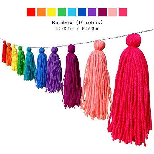 Big Size Tassel Garland H6.3in Polyester yarn Colorful Pom Pom Tassel Banner Decorative Wall Hanging for Home Decoration Wedding Birthday Baby Shower Party Supplies