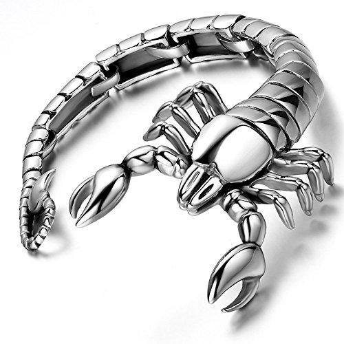 Flongo Herren Armband Männer Armreif Edelstahl Armband Armreif Groß Schwer Silber Schwarz Skorpion Motorradfahrer Biker Herrschsüchtig Herren