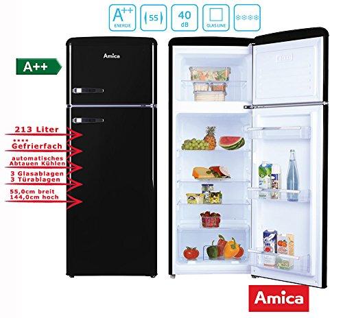 Amica Retro Kühl-/Gefrierkombination Schwarz KGC 15634 S A++ 213 Liter mit **** Gefrierfach Black Olives