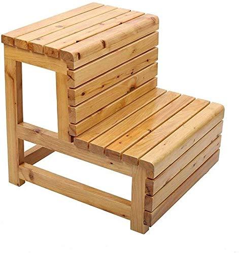 DNSJB - Taburete de escalera de madera maciza para taburete, taburete multifunción, sillas plegables intercambiables, 2 pasos, taburete