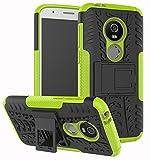 Moto E5 Play Case, Moto E5 Cruise Case, Yiakeng Dual Layer Shockproof Wallet Slim Protective with Kickstand Hard Phone Case Cover for Motorola Moto E5 Play (Green)