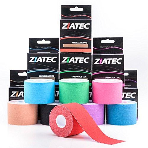 Bande de kinésiologie ZiATEC Pro Kinesiology Tape | Bande élastique et imperméable pour le sport, ruban physio (4,5 m x 5 cm) 100% coton, couleur:1 x rose