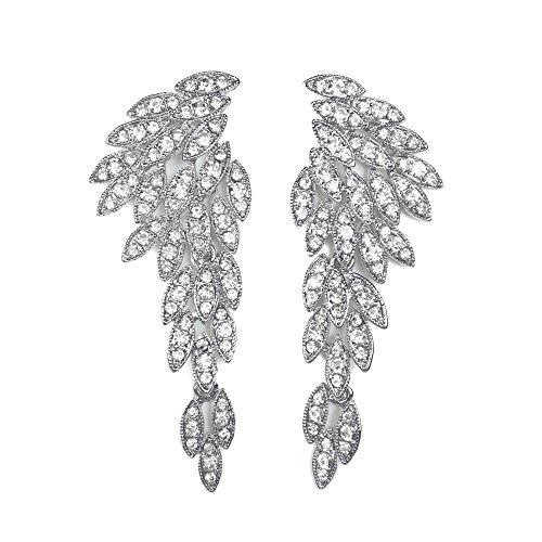 Art Deco 1920's Great Gatsby Large Silver Clip On Earrings Angel Wings Eagle Wings Statement Dangle Earrings Wedding Bridal Prom Crystal Chandelier Long Drop Earrings Beauty Pageant Drag Queen Clip On Earrings (Silver)