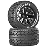 Bandito MT 2.8 1/10 RC Monster Truck Tires with Foam Inserts: C2 Soft, Mounted, 6-Spoke Front/Rear Wheels, Black, 1/2 Inch Offset, Set of 2