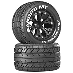 Ideal tread pattern for high traction, on-road conditons on asphalt, concrete, hard and smooth surfaces 2.8 MT tires with foam inserts pre-mounted on black 6-spoke plastic rims Tire Outer Diameter: 4.6 Inch; Tire Width: 2.6 Inch; Wheel Diameter: 2.8 ...