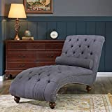 Belleze Teofila Tufted Chaise Lounge Chair Leisure Sofa Couch with Bolster Pillow Nailhead Trim and Turned Legs, Gray
