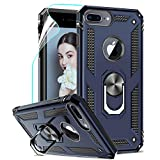 LeYi Funda iPhone 6 Plus / 7 Plus / 8 Plus Armor Carcasa con 360 Anillo iman Soporte Hard PC y Silicona TPU Bumper antigolpes Case para movil iPhone 7/8 Plus con HD Protector de Pantalla,Azul
