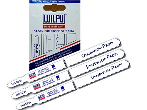 Sandwich Stichsägeblätter 3St MG52 >100 mm u. 130 mm = 180 mm extra lang für Stichsäge mit t-Schaft Aufnahme u Stichsägetisch 012P 012P