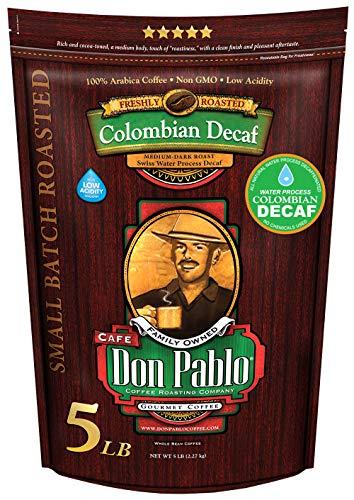 Cafe Don Pablo 5LB Decaf Swiss Water Process Colombian Gourmet Coffee Decaffeinated - Medium-Dark Roast - Whole Bean Coffee - 5 Pound (5 lb) Bag