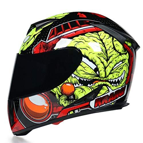 HZIH Integralhelm Motorradhelm mit Innenvisier, ECE Genehmigt Full-Face Motorrad-Helm Scooter-Helm Cruiser Sturz-Helm