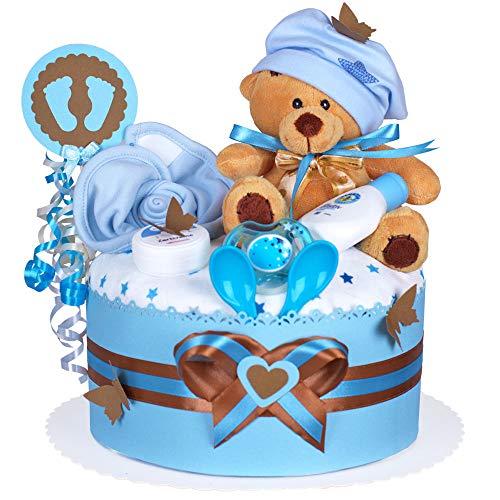 MomsStory - Windeltorte Junge | Teddy-Bär | Baby-Geschenk zur Geburt Taufe Babyshower | 1 Stöckig (Blau-Braun) mit Plüschtier Lätzchen Schnuller & mehr