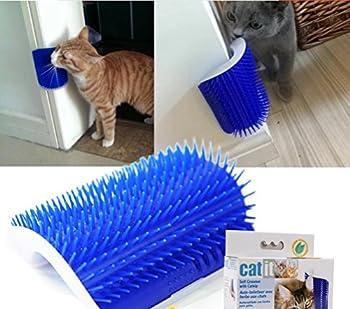 Huuiy Brosse d'angle de toilettage et massage pour chat avec herbe à chat, 12,7x 8,5x 4,7cm, Produits pour animaux de compagnie
