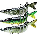 TRUSCEND Fishing Bass Lures 4.9' Multi Jointed Topwater Life-Like Trout Swimbait Hard CrankBaits (A-Pike-Combo-1),Fishing Gifts for Men