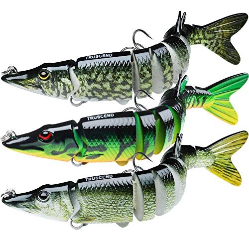"TRUSCEND Fishing Bass Lures 4.9"" Multi Jointed Topwater Life-Like Trout Swimbait Hard CrankBaits (A-Pike-Combo-1),Fishing Gifts for Men"