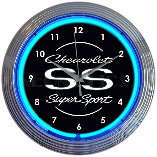 Chevrolet Chevy SS Super Sport Blue Neon Clock by Neonetics, 15 Inch Diameter with Blue Neon – 8CHVSS