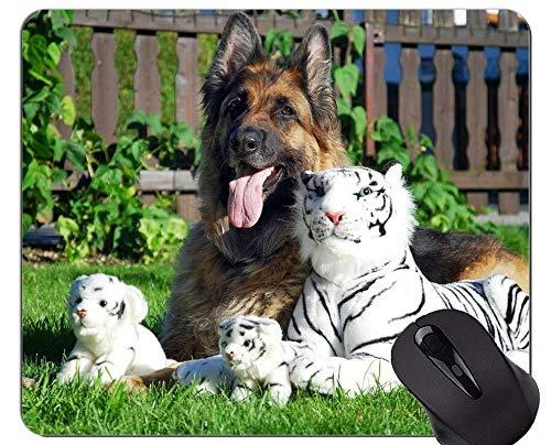 Tigerin und Cub Tiger Mauspad, Schafer Hund Mauspad mit genähten Kanten