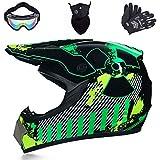Casco de motocross, con guantes, pasamontañas y gafas adecuadas, casco completo Downhill, casco de motocross, para niños y adultos (M).