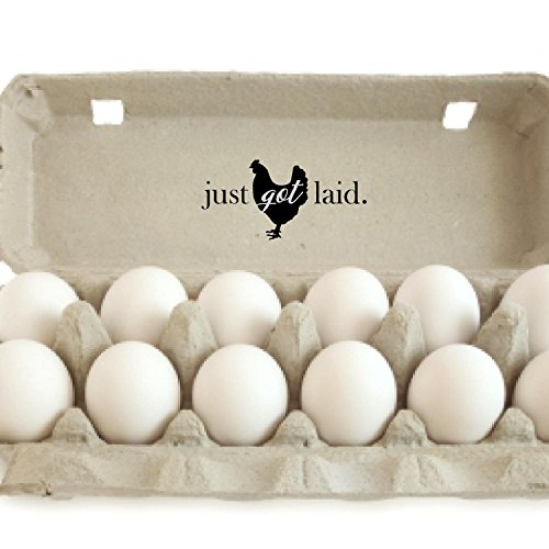 Horizontal Just Got Laid Wood Handle Rubber Stamp Fresh Egg Stamp Egg Carton Stamp Fresh Eggs 2quot x 2quot