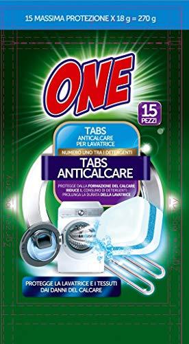 ONE | TABS ANTICALCARE LAVATRICE | Protegge la lavatrice e i tessuti dai danni del calcare | Riduce il consumo dei detergenti 15 tabs - 15 lavaggi | Pulizia a basso impatto ambientale