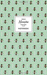 Honeybee Notebook - Ruled Pages - 5x8 - Premium: (Green Edition) Fun bee notebook 96 ruled/lined pages (5x8 inches / 12.7x...