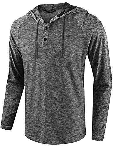COOFANDY Men's Jacquard Casual Long Sleeve Raglan Henley Jersey Hood T Shirt