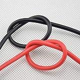 LINGZIA Câbles de cuivre échoués flexibles 5m de fil de silicone de mesure 14AWG pour le rouge noir de Rc