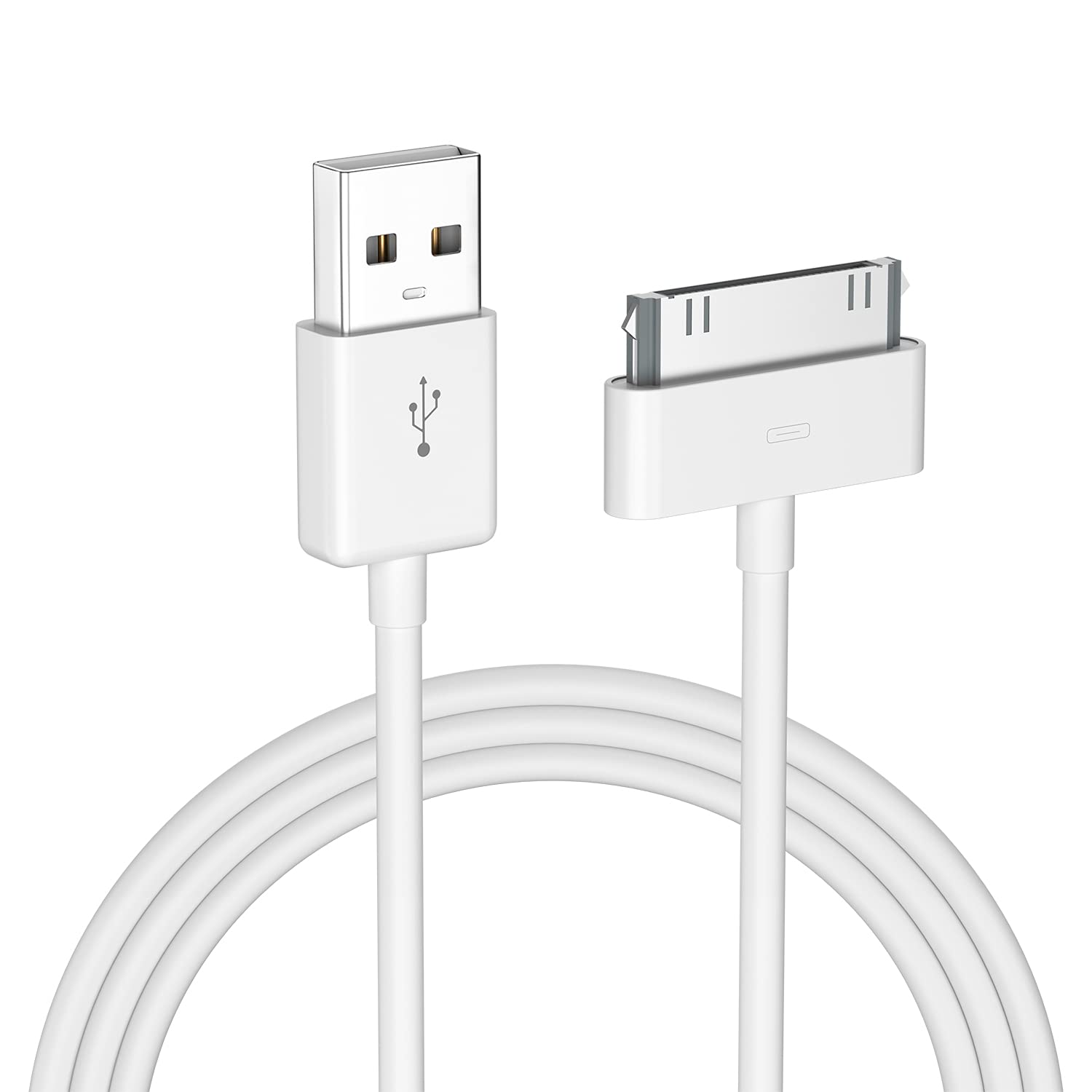 Apple Certified 30 Pin USB Charging Cable, UPoweradd 4.0ft USB Sync Charging Cord iPhone Compatible for 4 4s 3G 3GS iPad 1 2 3 iPod Touch Nano White (1pcs)