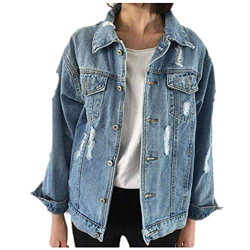 CYSTYLE Frauen Basic Mäntel Herbst und Winter Damen Jeansjacke Vintage Langhülse Lose Mädchen Jeans Mantel Beiläufige Outwear (EU L)