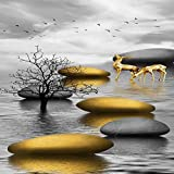 N / A Seaside Landscape Abstract Canvas Painting Golden Deer Stone Poster and Print Mural Picture For Living Room Decoration Frameless 40x80cm
