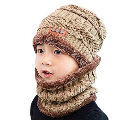 RG-FA Niños Invierno 2pcs Crochet Knit Felpa Forrado Grueso Gorro Círculo Bufanda Set - Caqui
