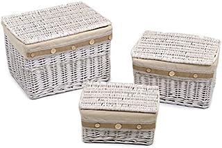 Vacchetti 1215790000 Lot de 3 boîtes en Osier, Blanc, Moyen