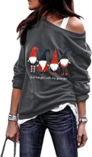 Women Christmas Sweatshirt Just Hanging with My Gnomies Cute Funny Graphic Off Shoulder Pullover Shirt