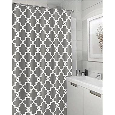 Moldiy Geometric Patterned Shower Curtain 72  x 72  - GREY